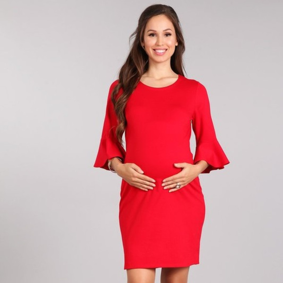 678482899b 🌺HOST PICK🌺 Pretty Red Knit Maternity Dress